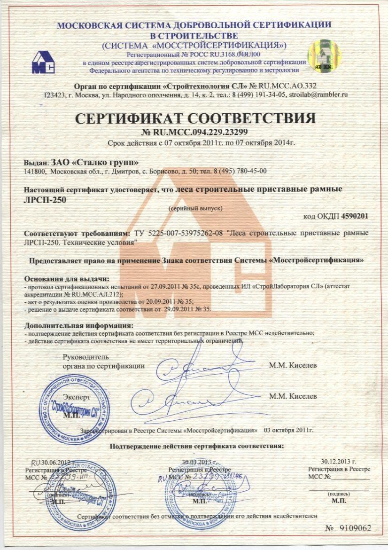 сертификат стеклоткань 250